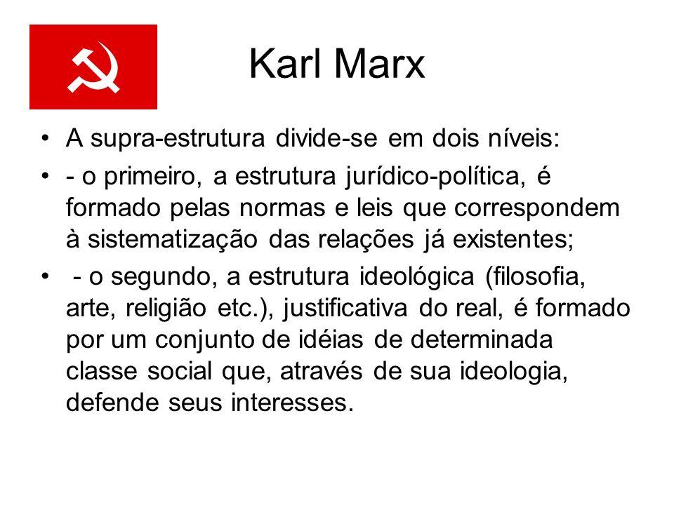 Karl Marx A supra-estrutura divide-se em dois níveis: - o primeiro, a estrutura jurídico-política, é formado pelas normas e leis que correspondem à si