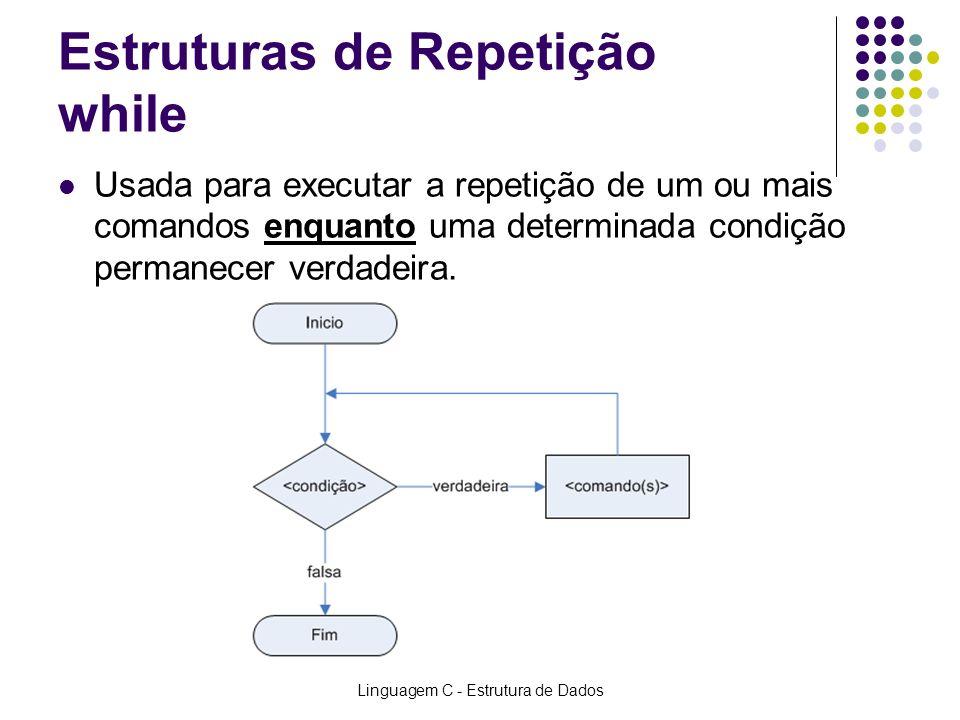 Linguagem C - Estrutura de Dados Estruturas de Repetição while Usada para executar a repetição de um ou mais comandos enquanto uma determinada condiçã
