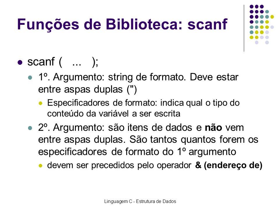 Linguagem C - Estrutura de Dados Funções de Biblioteca: scanf scanf (... ); 1º. Argumento: string de formato. Deve estar entre aspas duplas (