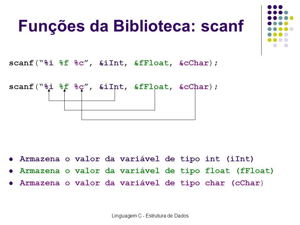 Linguagem C - Estrutura de Dados Funções da Biblioteca: scanf scanf(%i %f %c, &iInt, &fFloat, &cChar); Armazena o valor da variável de tipo int (iInt)