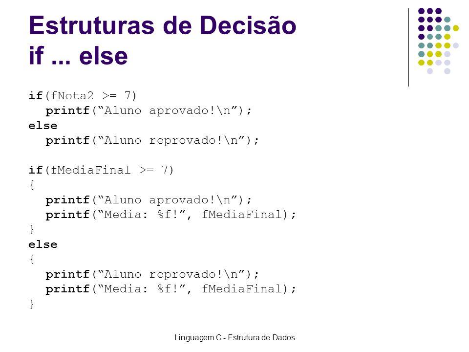 Linguagem C - Estrutura de Dados Estruturas de Decisão if... else if(fNota2 >= 7) printf(Aluno aprovado!\n); else printf(Aluno reprovado!\n); if(fMedi