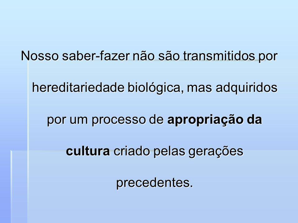 Nosso saber-fazer não são transmitidos por hereditariedade biológica, mas adquiridos por um processo de apropriação da cultura criado pelas gerações p