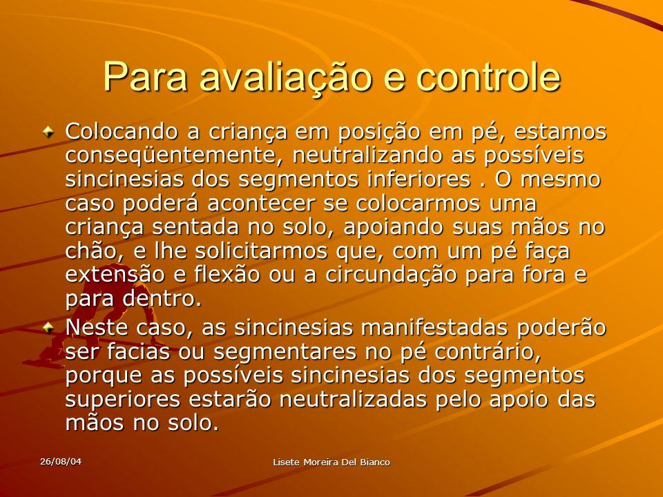 26/08/04 Lisete Moreira Del Bianco Crianças que apresentam distúrbios visomotores: Não escrevem na linha.