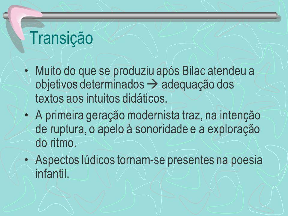 Transição Muito do que se produziu após Bilac atendeu a objetivos determinados adequação dos textos aos intuitos didáticos. A primeira geração moderni