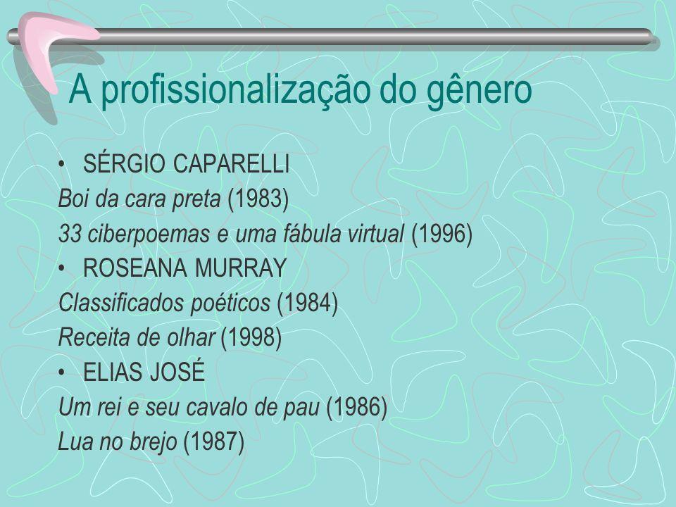 A profissionalização do gênero SÉRGIO CAPARELLI Boi da cara preta (1983) 33 ciberpoemas e uma fábula virtual (1996) ROSEANA MURRAY Classificados poéti