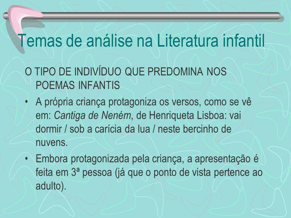 Temas de análise na Literatura infantil O TIPO DE INDIVÍDUO QUE PREDOMINA NOS POEMAS INFANTIS A própria criança protagoniza os versos, como se vê em: