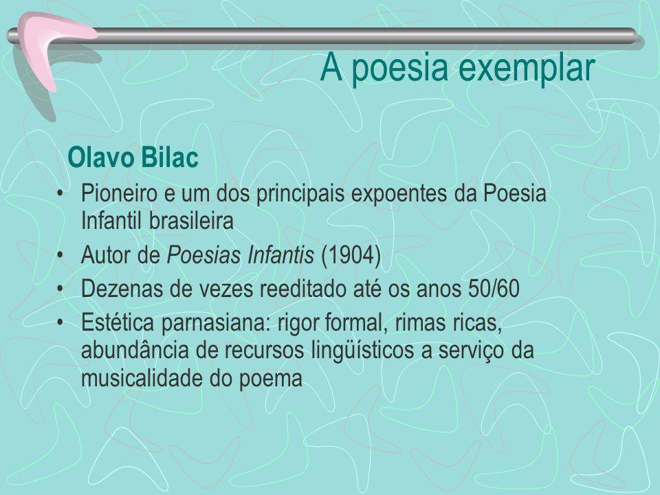 A poesia exemplar Olavo Bilac Pioneiro e um dos principais expoentes da Poesia Infantil brasileira Autor de Poesias Infantis (1904) Dezenas de vezes r