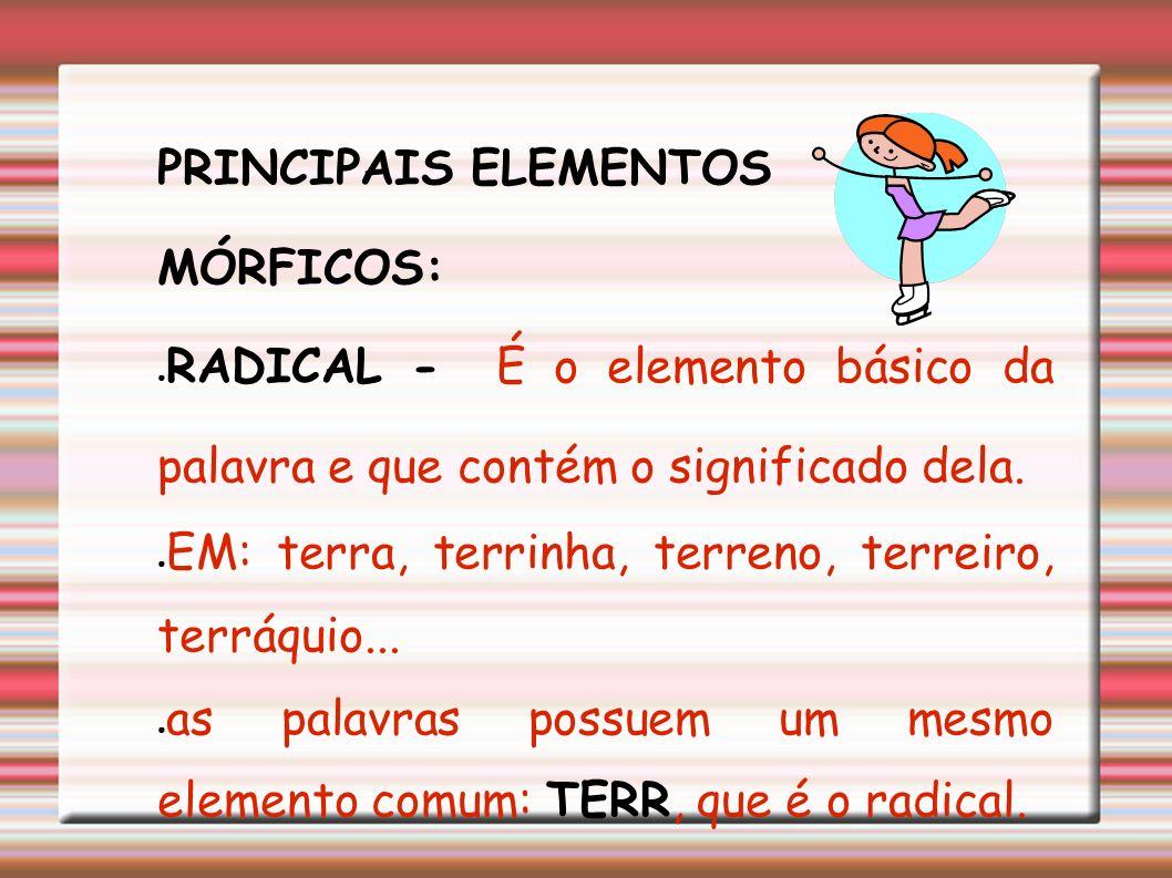 As palavras são formadas por partes. Essas partes constituem os elementos estruturais ou elementos mórficos ou ainda morfemas.