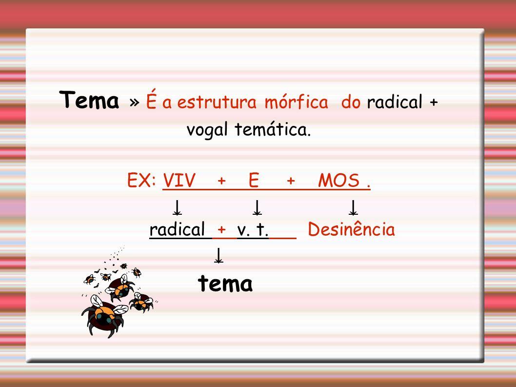 Vogais temáticas » É a vogal que vem logo após o radical, são as vogais A, E, e I, usadas para indicar a conjunção a que o verbo pertence. »a vogal te