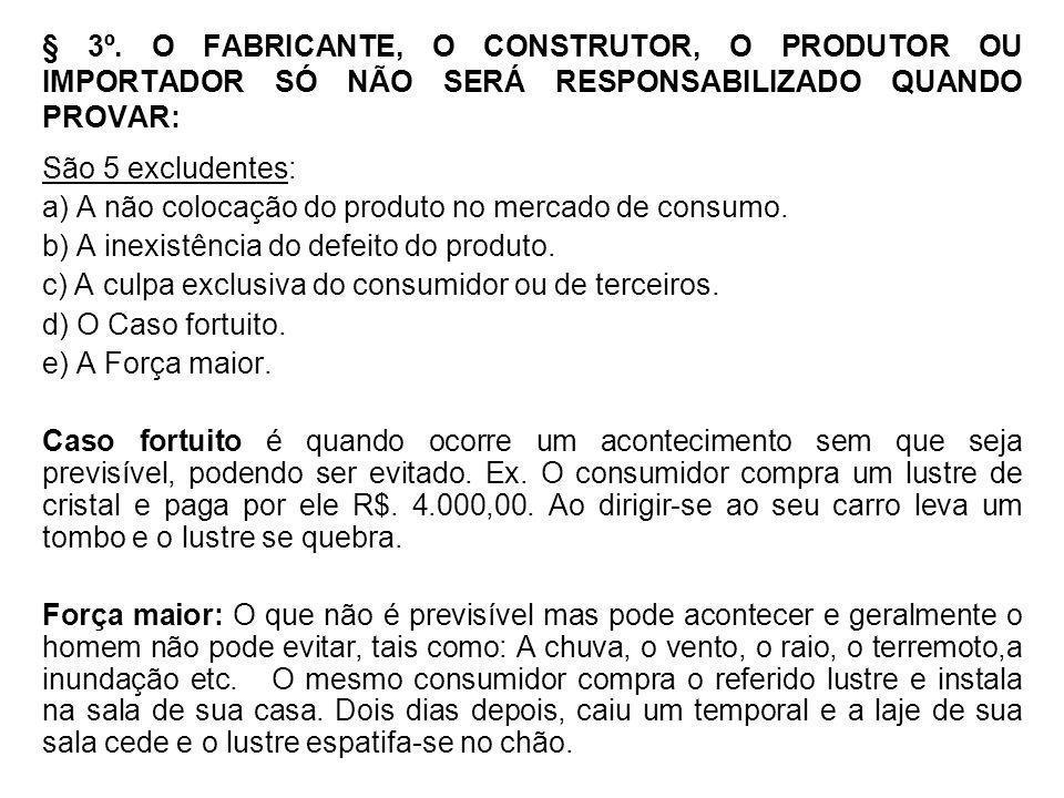 § 3º. O FABRICANTE, O CONSTRUTOR, O PRODUTOR OU IMPORTADOR SÓ NÃO SERÁ RESPONSABILIZADO QUANDO PROVAR: São 5 excludentes: a) A não colocação do produt