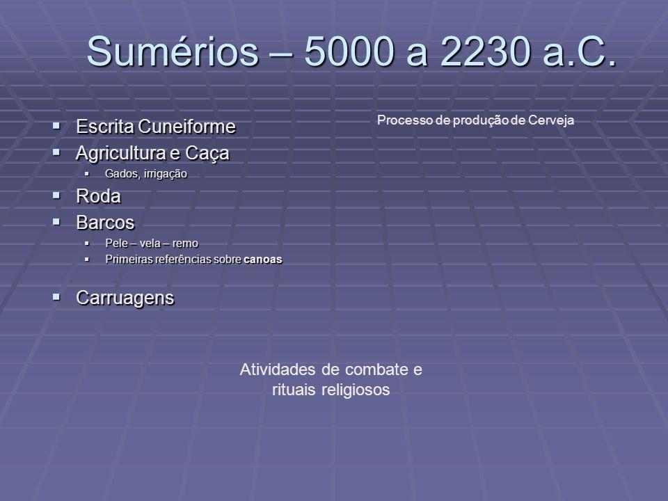 Sumérios – 5000 a 2230 a.C. Escrita Cuneiforme Escrita Cuneiforme Agricultura e Caça Agricultura e Caça Gados, irrigação Gados, irrigação Roda Roda Ba