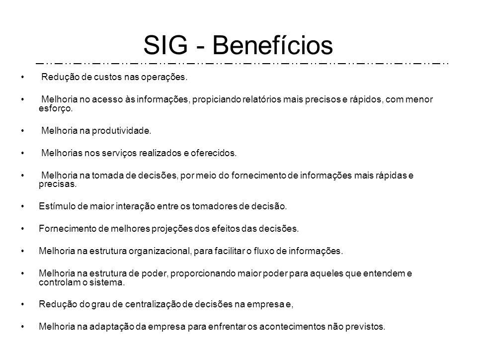 SIG – Afirmações Envolvimento com o SIG. É um instrumento básico de apoio à otimização dos resultados. Exige competência intrínseca às pessoas que irã