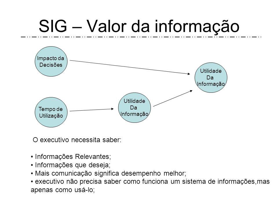 SIG – Realização O desenvolvimento do SIG envolve um alto nível de criatividade e realizações. Pois, porque depois do problema identificado, o executi
