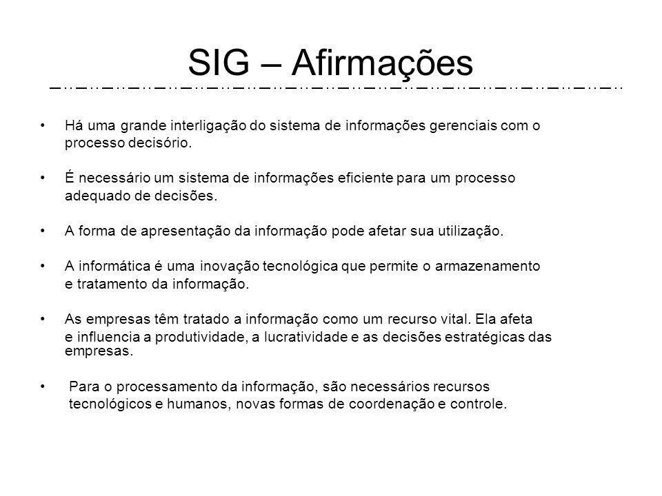 SIG – Interação Fontes de Informação Interna Informações Relevantes Para decisões Processo Decisório Fontes de Informação Externas Tomada de Decisão E