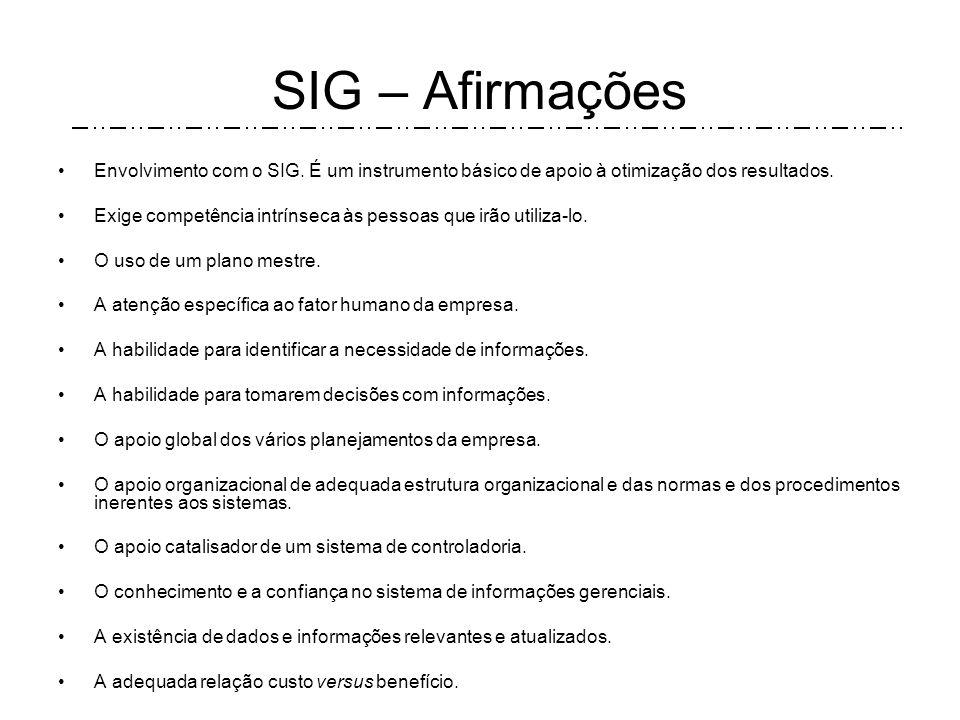 SIG – Afirmações Há uma grande interligação do sistema de informações gerenciais com o processo decisório. É necessário um sistema de informações efic