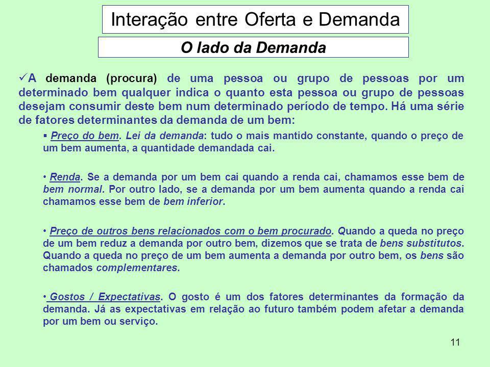 11 Interação entre Oferta e Demanda O lado da Demanda A demanda (procura) de uma pessoa ou grupo de pessoas por um determinado bem qualquer indica o q