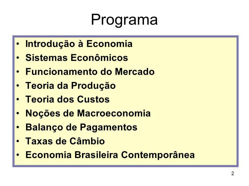 2 Programa Introdução à Economia Sistemas Econômicos Funcionamento do Mercado Teoria da Produção Teoria dos Custos Noções de Macroeconomia Balanço de