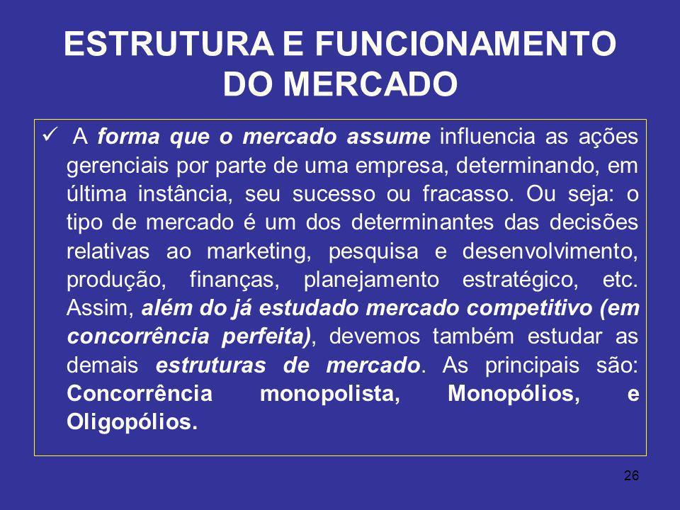 26 ESTRUTURA E FUNCIONAMENTO DO MERCADO A forma que o mercado assume influencia as ações gerenciais por parte de uma empresa, determinando, em última