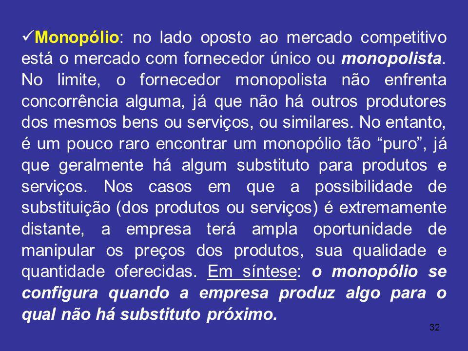 32 Monopólio: no lado oposto ao mercado competitivo está o mercado com fornecedor único ou monopolista. No limite, o fornecedor monopolista não enfren