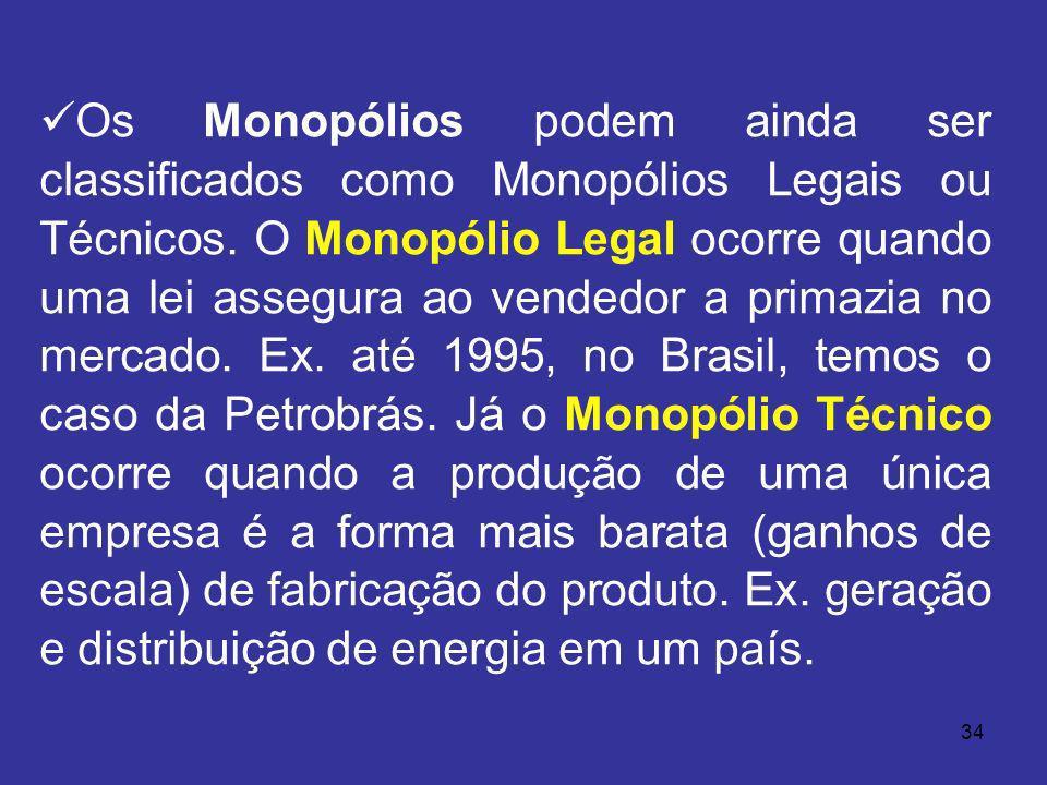 34 Os Monopólios podem ainda ser classificados como Monopólios Legais ou Técnicos. O Monopólio Legal ocorre quando uma lei assegura ao vendedor a prim