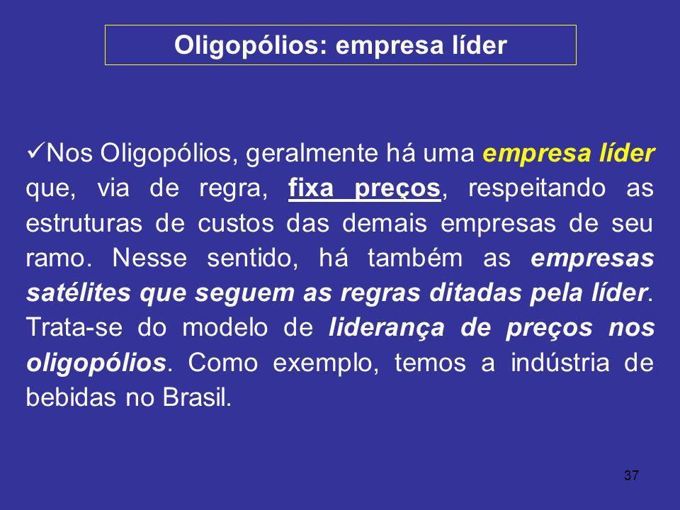 37 Nos Oligopólios, geralmente há uma empresa líder que, via de regra, fixa preços, respeitando as estruturas de custos das demais empresas de seu ram
