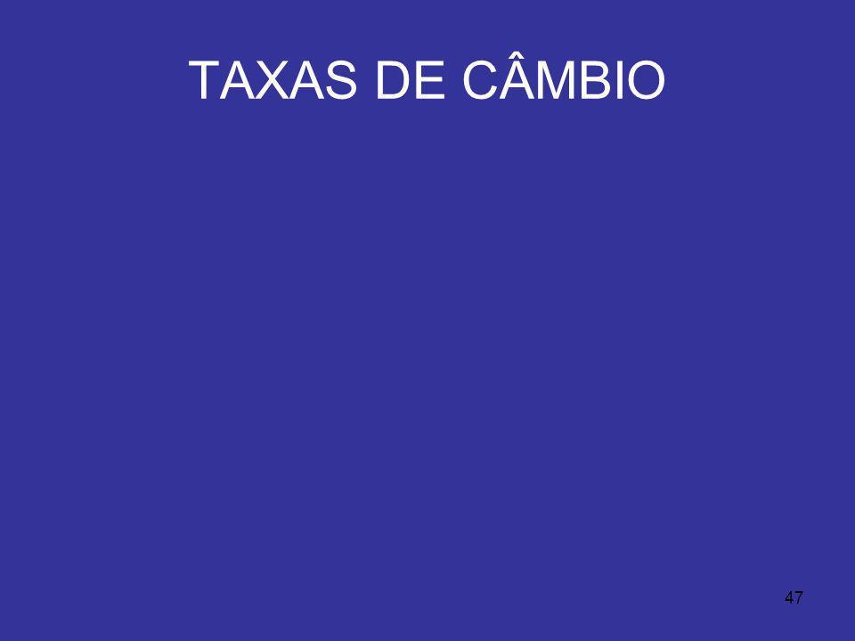 47 TAXAS DE CÂMBIO
