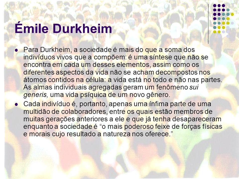 Émile Durkheim Para Durkheim, a sociedade é mais do que a soma dos indivíduos vivos que a compõem: é uma síntese que não se encontra em cada um desses