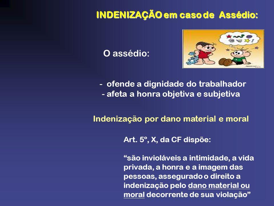 INDENIZAÇÃO em caso de Assédio: INDENIZAÇÃO em caso de Assédio: O assédio: - ofende a dignidade do trabalhador - afeta a honra objetiva e subjetiva In
