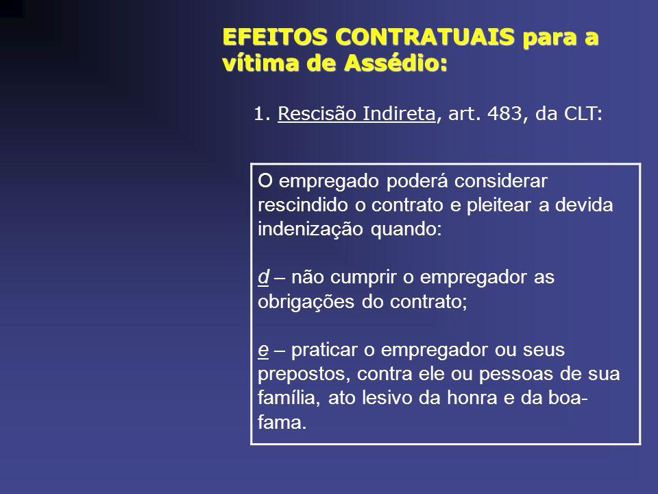 EFEITOS CONTRATUAIS para a vítima de Assédio: 1. Rescisão Indireta, art. 483, da CLT: O empregado poderá considerar rescindido o contrato e pleitear a