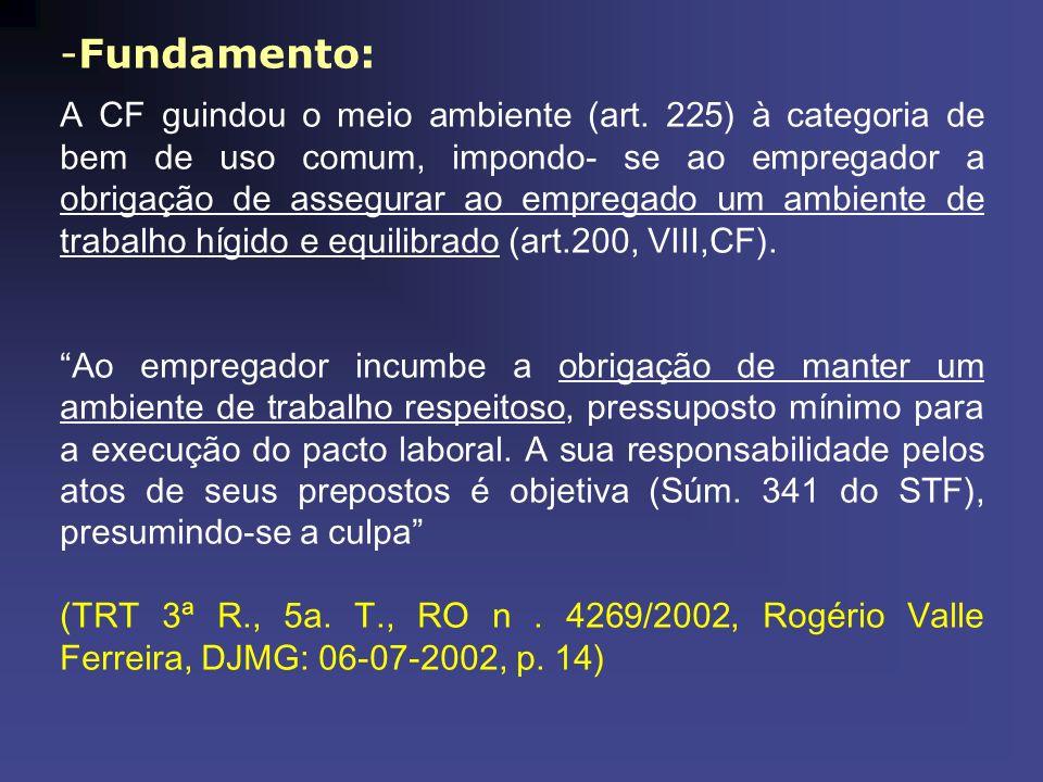 -Fundamento: A CF guindou o meio ambiente (art. 225) à categoria de bem de uso comum, impondo- se ao empregador a obrigação de assegurar ao empregado