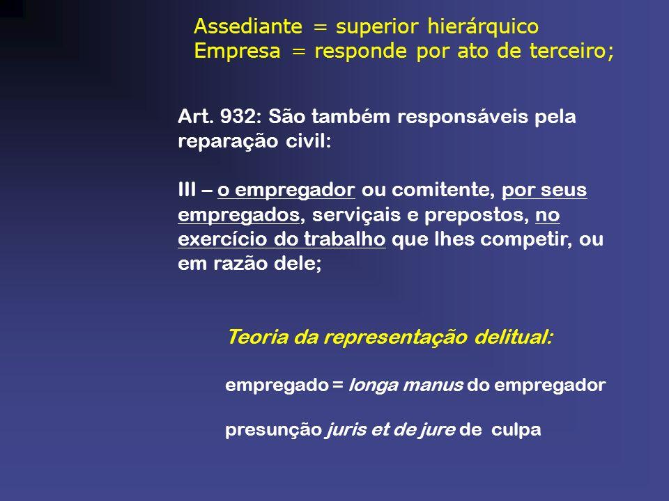 Assediante = superior hierárquico Empresa = responde por ato de terceiro; Art. 932: São também responsáveis pela reparação civil: III – o empregador o