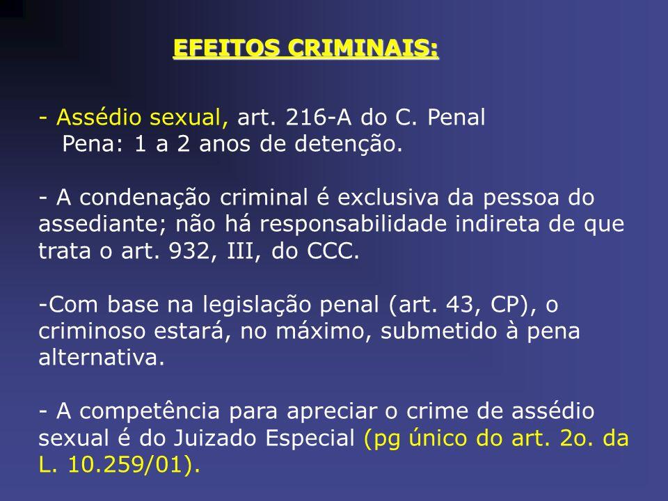 EFEITOS CRIMINAIS: - Assédio sexual, art. 216-A do C. Penal Pena: 1 a 2 anos de detenção. - A condenação criminal é exclusiva da pessoa do assediante;