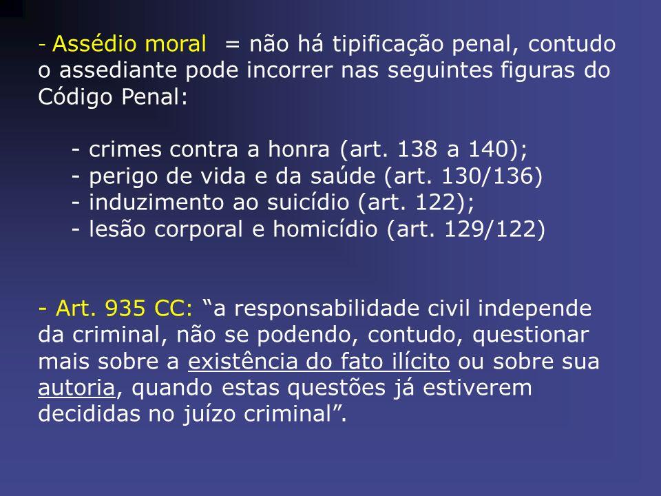 - Assédio moral = não há tipificação penal, contudo o assediante pode incorrer nas seguintes figuras do Código Penal: - crimes contra a honra (art. 13