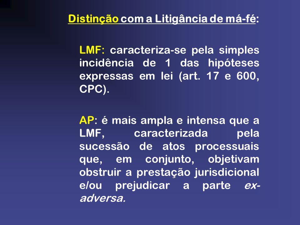 Distinção com a Litigância de má-fé: LMF: caracteriza-se pela simples incidência de 1 das hipóteses expressas em lei (art. 17 e 600, CPC). AP: é mais