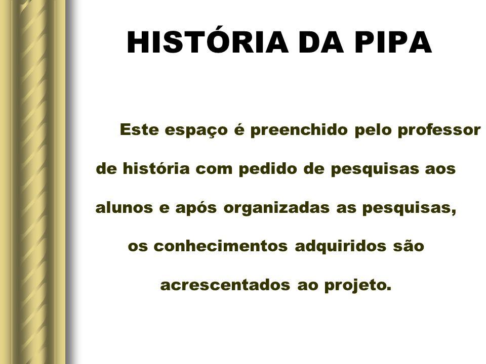 HISTÓRIA DA PIPA Este espaço é preenchido pelo professor de história com pedido de pesquisas aos alunos e após organizadas as pesquisas, os conhecimentos adquiridos são acrescentados ao projeto.