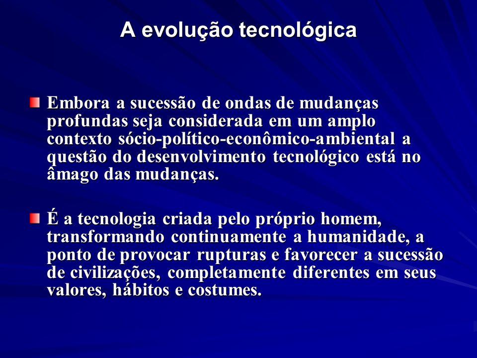 A evolução tecnológica Embora a sucessão de ondas de mudanças profundas seja considerada em um amplo contexto sócio-político-econômico-ambiental a que