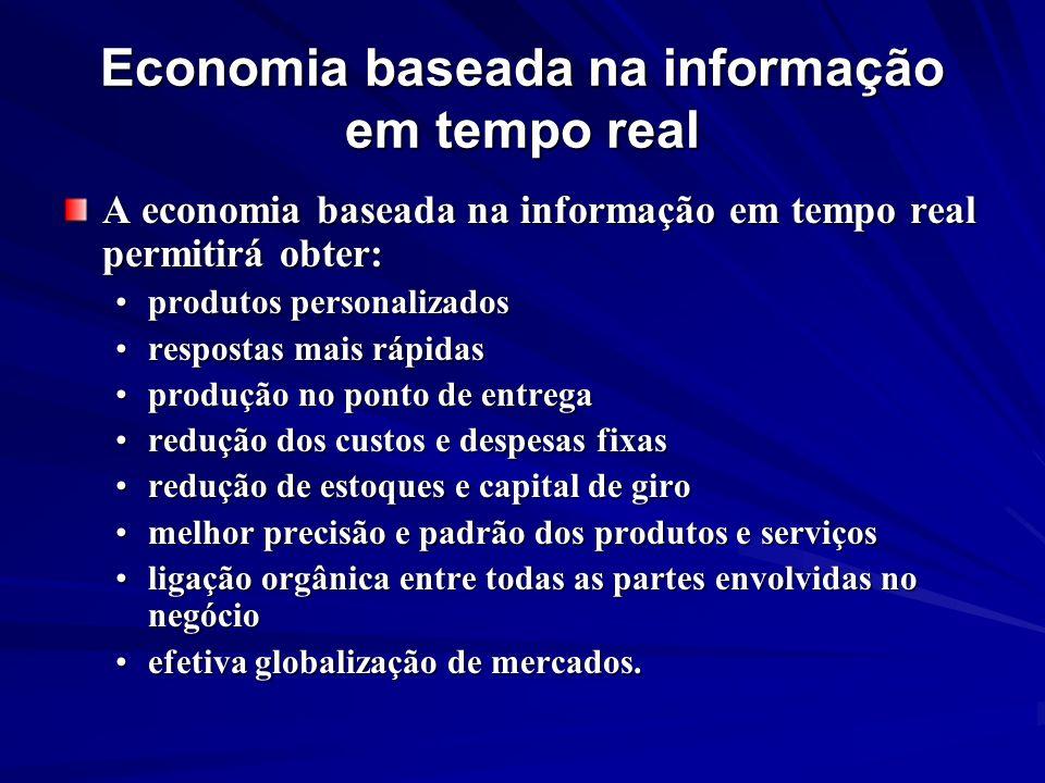 Economia baseada na informação em tempo real A economia baseada na informação em tempo real permitirá obter: produtos personalizadosprodutos personali
