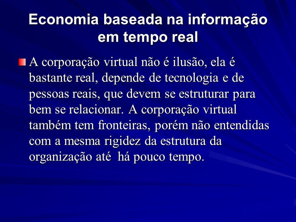 Economia baseada na informação em tempo real A corporação virtual não é ilusão, ela é bastante real, depende de tecnologia e de pessoas reais, que dev