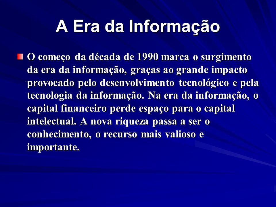 A Era da Informação O começo da década de 1990 marca o surgimento da era da informação, graças ao grande impacto provocado pelo desenvolvimento tecnol
