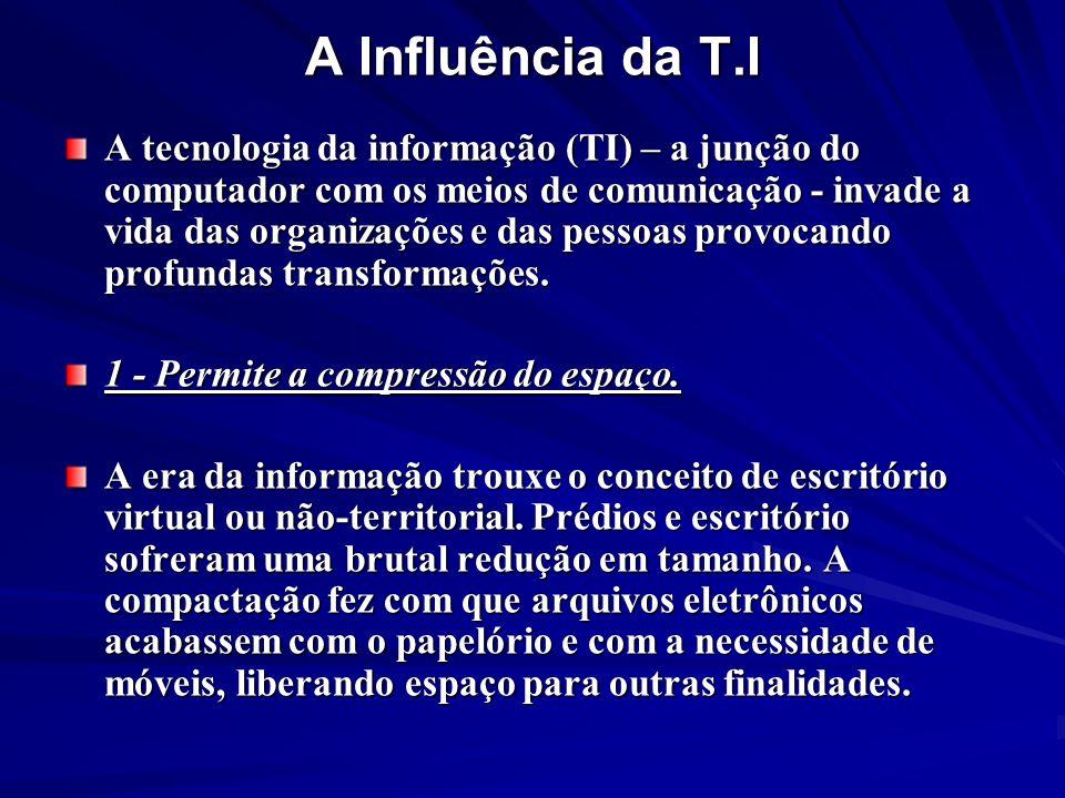 A Influência da T.I A tecnologia da informação (TI) – a junção do computador com os meios de comunicação - invade a vida das organizações e das pessoa
