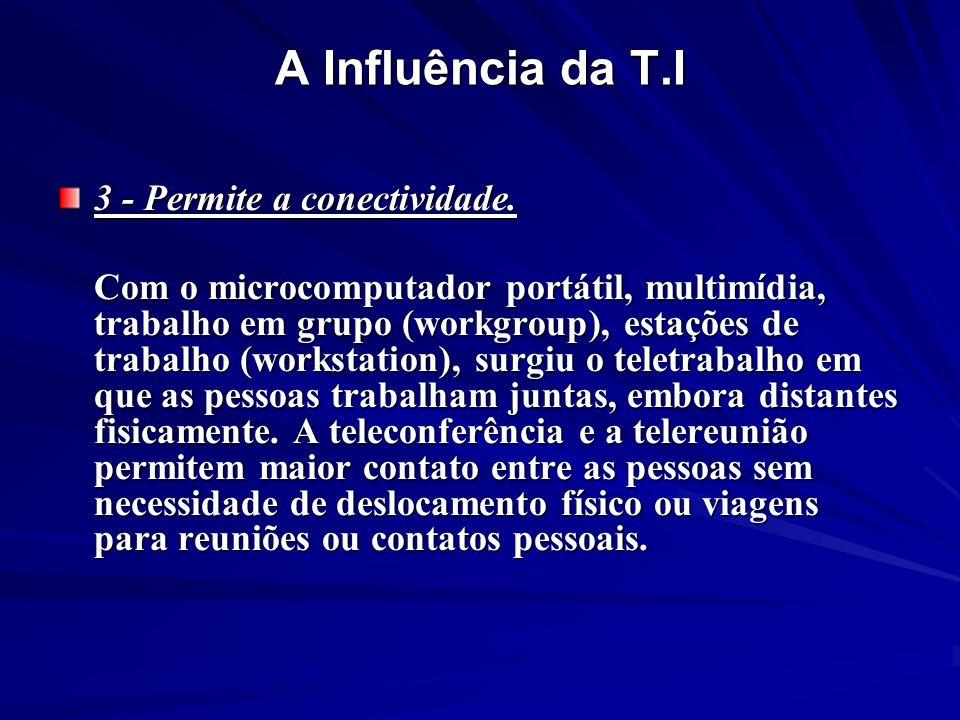 3 - Permite a conectividade. Com o microcomputador portátil, multimídia, trabalho em grupo (workgroup), estações de trabalho (workstation), surgiu o t