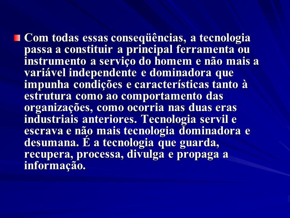 Com todas essas conseqüências, a tecnologia passa a constituir a principal ferramenta ou instrumento a serviço do homem e não mais a variável independ