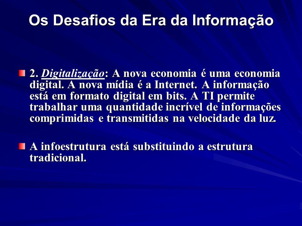 Os Desafios da Era da Informação 2. : A nova economia é uma economia digital. A nova mídia é a Internet. A informação está em formato digital em bits.