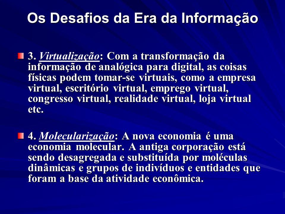 Os Desafios da Era da Informação 3. : Com a transformação da informação de analógica para digital, as coisas físicas podem tomar-se virtuais, como a