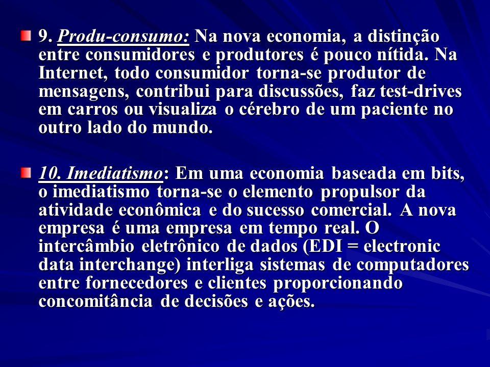 9. Produ-consumo: Na nova economia, a distinção entre consumidores e produtores é pouco nítida. Na Internet, todo consumidor torna-se produtor de mens