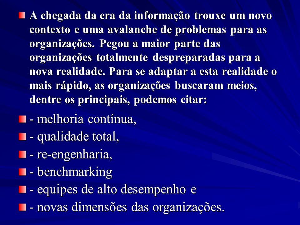 A chegada da era da informação trouxe um novo contexto e uma avalanche de problemas para as organizações. Pegou a maior parte das organizações totalm