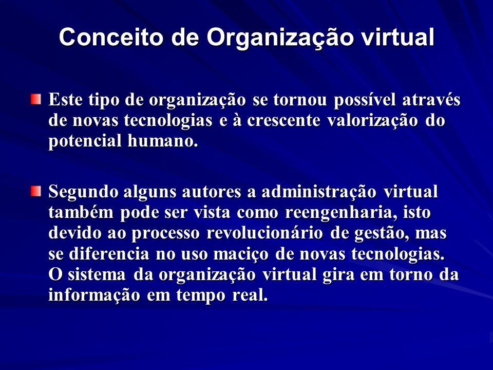 Conceito de Organização virtual Este tipo de organização se tornou possível através de novas tecnologias e à crescente valorização do potencial humano