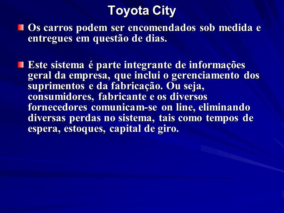 Toyota City Os carros podem ser encomendados sob medida e entregues em questão de dias. Este sistema é parte integrante de informações geral da empres