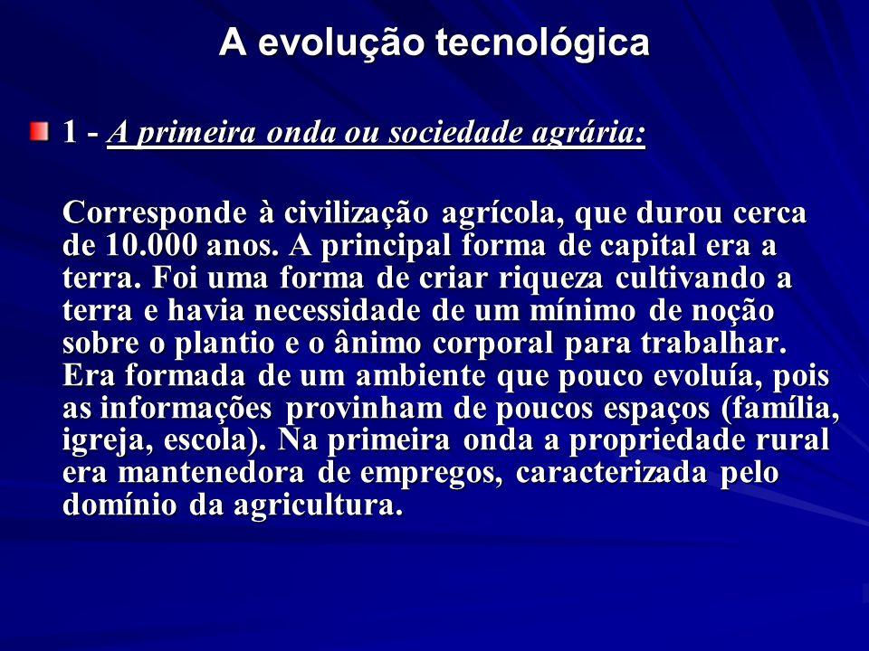 A evolução tecnológica 1 - A primeira onda ou sociedade agrária: Corresponde à civilização agrícola, que durou cerca de 10.000 anos. A principal forma