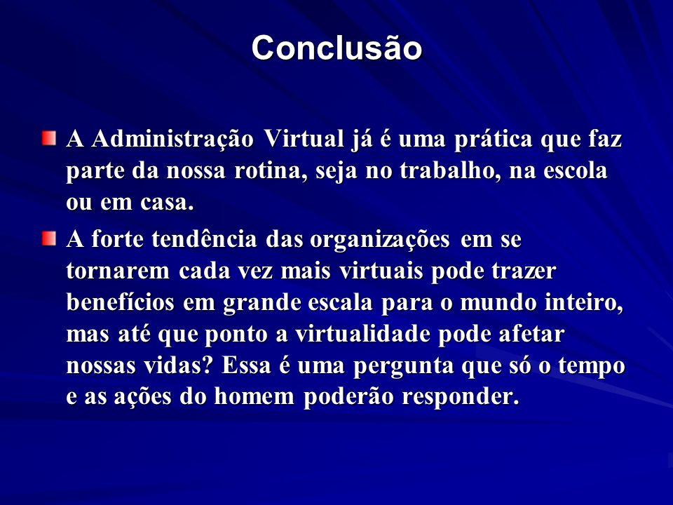 Conclusão A Administração Virtual já é uma prática que faz parte da nossa rotina, seja no trabalho, na escola ou em casa. A forte tendência das organi